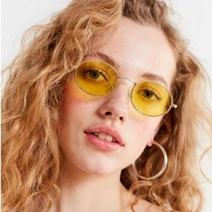 Urban Outfitters Yellow Oval Metal Sunglasses